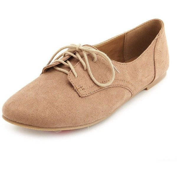 Charlotte Russe Lace-Up Low Profile Oxfords ($11) ❤ liked on Polyvore featuring shoes, oxfords, flats, sapatos, taupe, low cut tops, oxford shoes, lace up flats, low top and oxford flats