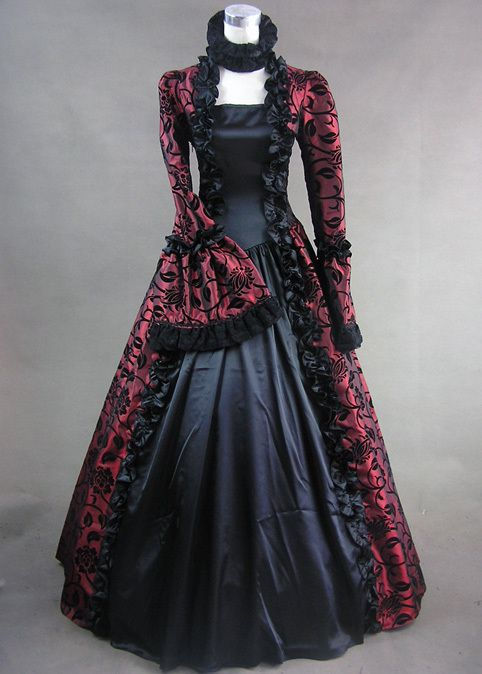 Victorian Satin Ball Gown Period Dress Reenactment Theatre Clothing PUNK 119 XL