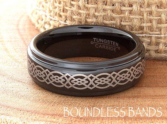 Black Tungsten Wedding Band Black Tungsten Ring by BoundlessBands