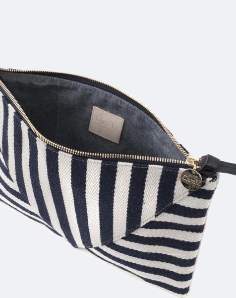 Clare V. Patchwork V Flat Clutch in Canvas Navy Mariner Stripe
