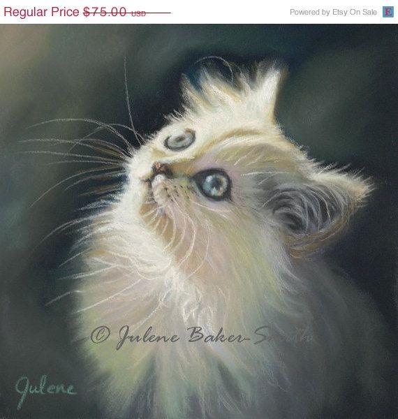 ON SALE White Cat Art  Cat Lover  Cat Decor  White by ArtByJulene
