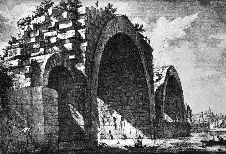Giovanni Battista Piranesi, Vedute di Roma: il ponte Milvio, 1748-74, incisione, pubblicata per la prima volta a Roma.