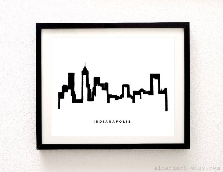 Indianapolis Cityscape Print - Indianapolis Wall Art - Indianapolis Skyline Print - Modern Black and White Decor - Aldari Art by AldariArt on Etsy