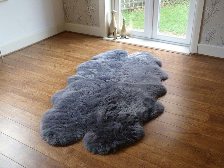 Sheepskin Rug Quad Dark Grey Large sheepskin rug, Rugs