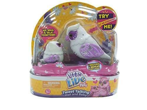 NEW Little Live Pets  White Graceling Owl Mommy & Baby  Feed Sing Record Repeat #Moose
