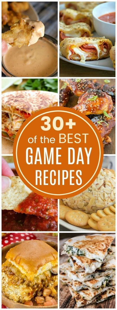 The Best Game Day Recipes - over 30 recipes for snacks, dips, nachos, wings and more for all of your football and tailgate party menus. #Jamiespartymenus