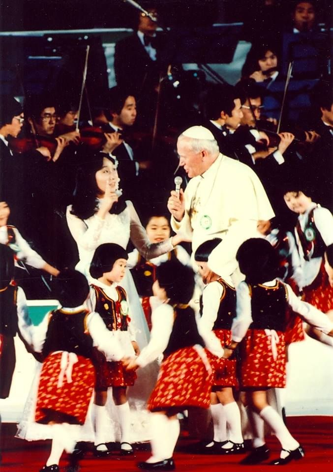 Fun Fact: When preparing for a pilgrimage to Asia this week in 1981, Blessed John Paul II took language lessons in Japanese and Tagalog (the native language of the Philippines) to prepare for his journey. He put those lessons to good use when he got there! #CountdowntoCanonization #Shepherd1 Blessed John Paul II #prayforus