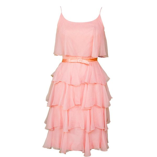 1960s Small Dress Tiered Ruffled Coral Peach Pink Silk Crepe Satin Bow... (89 AUD) ❤ liked on Polyvore featuring dresses, vintage prom dresses, vintage bridesmaid dresses, red vintage dress, vintage dresses and pink prom dresses