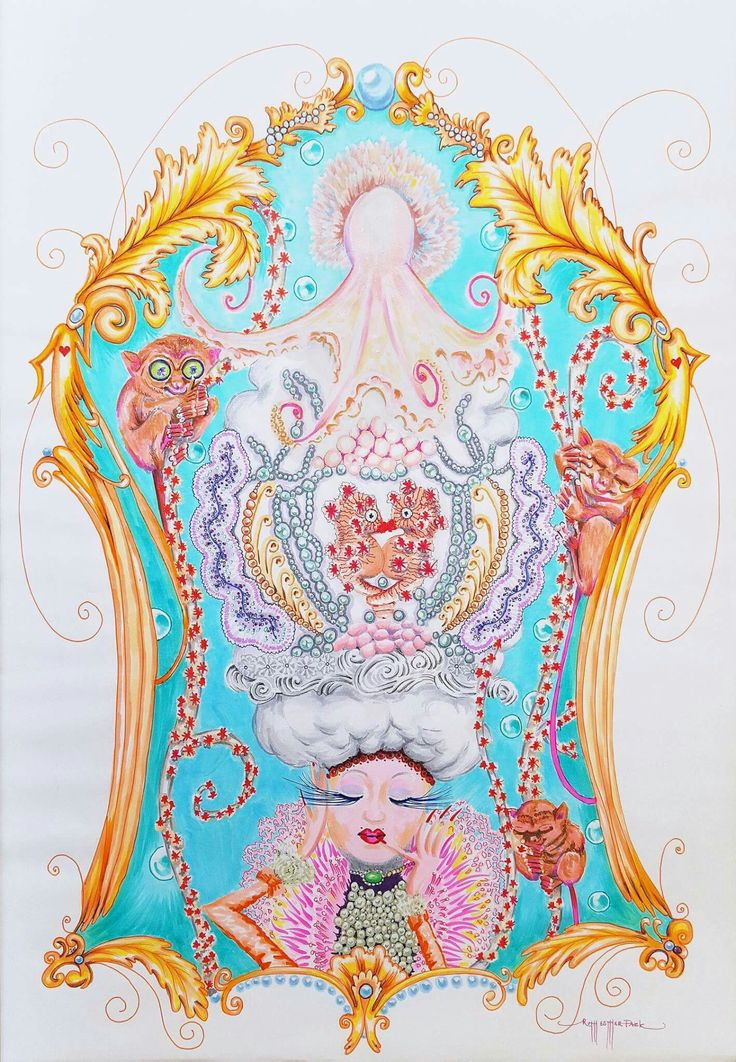 """""""Coral Lady"""" by Ruth Esther Park copic markers on paper.  Art. Illustration.  Sea. Tarsier. Rococo."""