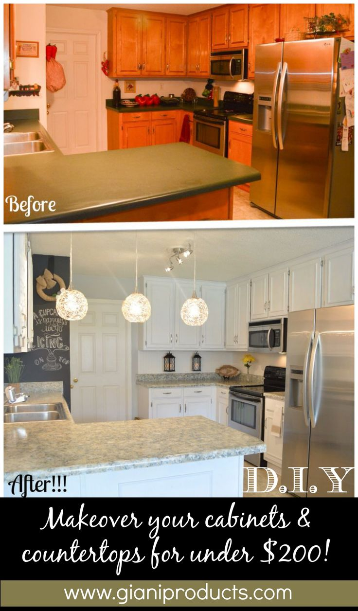 Kitchen update on a budget. DIY Paint Kits to revamp countertops and cabinets.  www.gianigranite.com www.nuvocabinetpaint.com Countertop Paint!