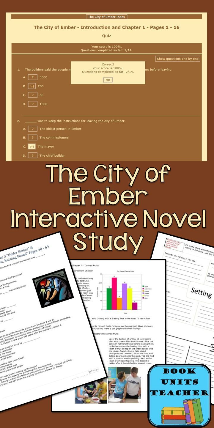 The City of Ember Book Unit includes vocabulary practice, comprehension quizzes (including interactive), skill practice, and language arts lessons. $