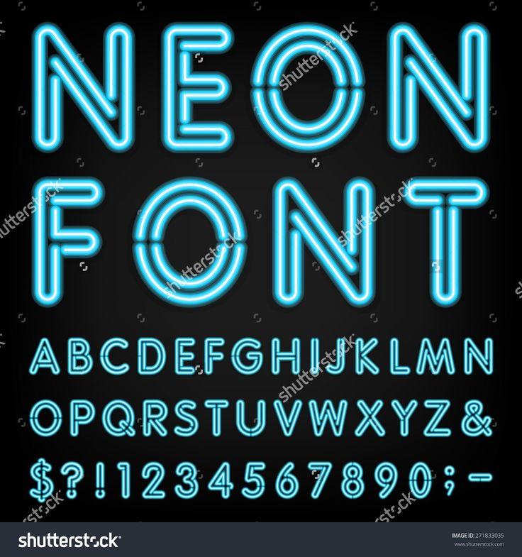 neon font generator Shutterstock アルファベット フォント, 文字フォント