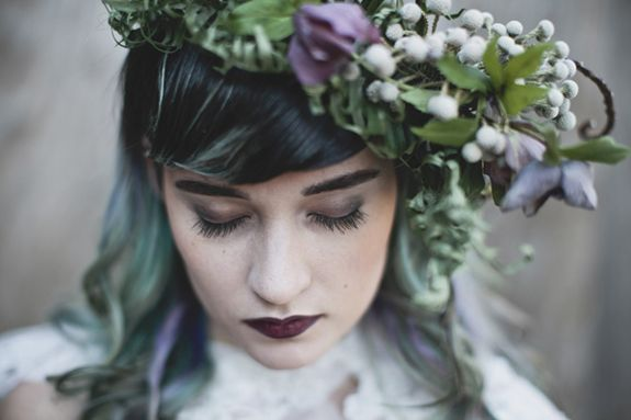 Punk inspired wedding hair and makeup. From a Dark, modern & slightly gothic, a Lady of the Lake inspired wedding shoot. Images by Sarah Gormley Photography.