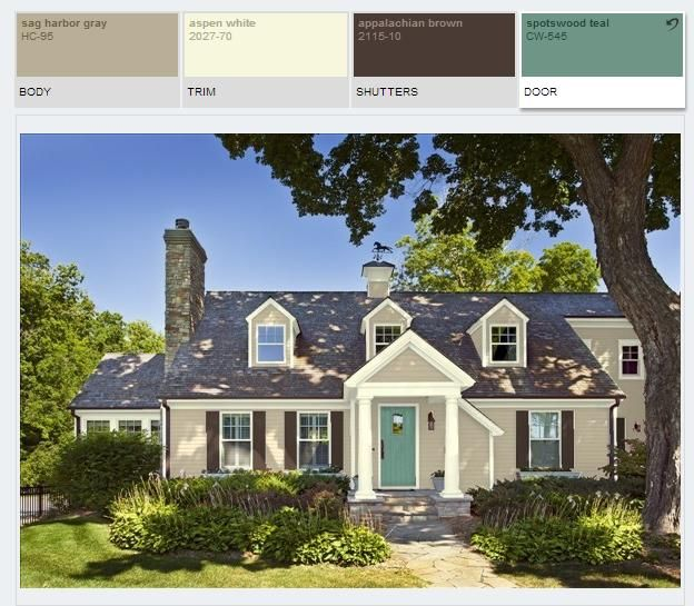 benjamin moore paint color schemes, sag harbor gray hc95, appalachian brown 2115-10, spotswood teal cw-545