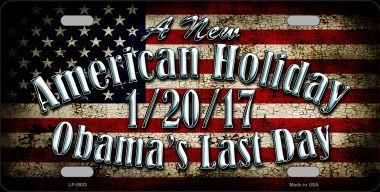 "Obama's Last Day 6"" x 12"" Metal License Plate"