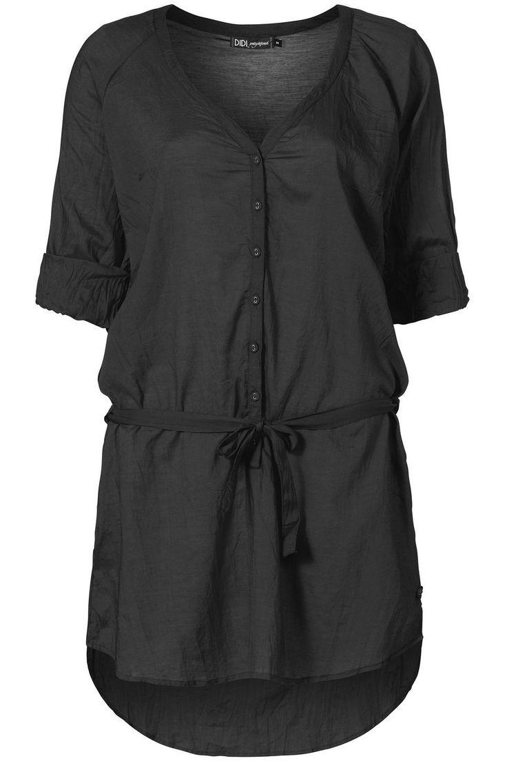 Lange blouse met oprolbare mouwen Zwart