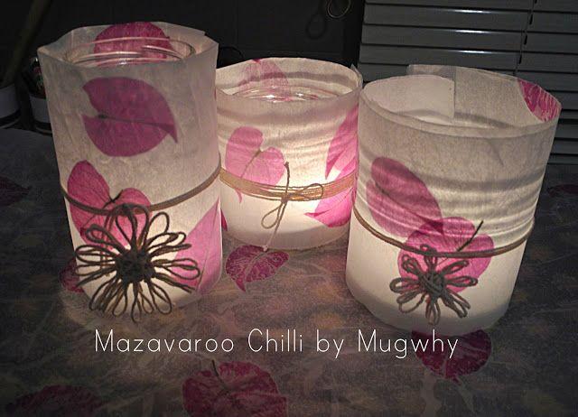 Wax Paper, Flower, Tea Light Lanterns.... Tutorial