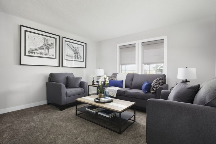 Great room in Creations by Shane Homes Arbor Duplex Showhome in Legacy in southeast Calgary #livingroom #greatroom