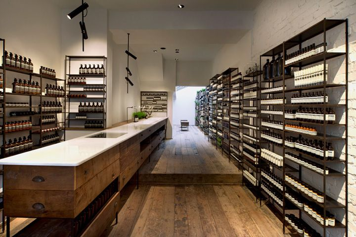 Aeosp store by Ciguë, London  July 7th, 2012 by retail design blog      Aesop keeps rapidly expanding in London, and opens up shop in the happening Islington Area. Another collab with Paris-based architecture practice Ciguë, the retail space meticulously references modest utilitarian spaces of the early 20th century.