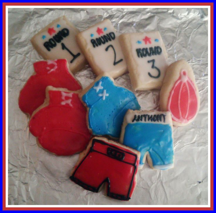 boxing theme cookies - gloves, round cards, speed bags, trunks