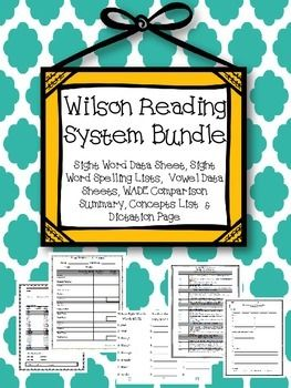 This bundle includes a group of my Wilson Reading System products. Wilson Reading System- Concepts List (1 page): All concepts are listed in order of book so you have a nice concise list without having to look through each of the books. Sight Word Data Sheet (1 page): Assess your students' abilities to read the 72 Wilson Reading System sight words.