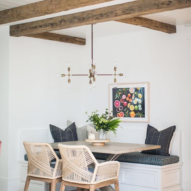 What a lovely contemporary eclectic breakfast nook. I love the bold modern statement chairs juxtaposed against the more traditional bench seating