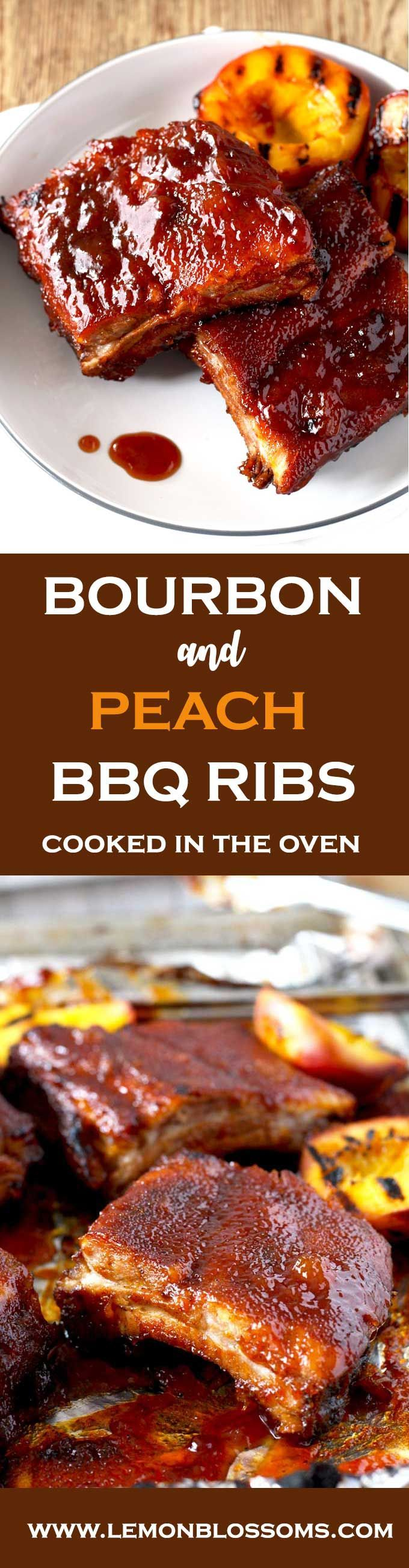 These Mouthwatering Bourbon and Peach BBQ ribs are seasoned with a simple spice rub mix and cooked in the oven until fall-off-the-bone tender. Smothered in a lip-smacking Bourbon and Peach BBQ sauce, these ribs are easy, delicious and foolproof! #ovenribs #ribs #BBQ #bourbon #oven via @https://www.pinterest.com/lmnblossoms/