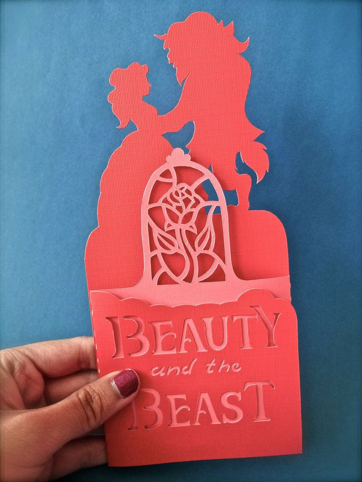 the daydream princess • Beauty and the Beast Handmade Papercut card,...