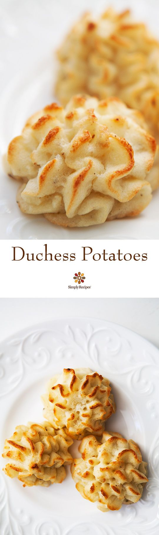 Duchess Potatoes ~ Classic Duchess potatoes, mashed with butter, nutmeg and cream, then baked until the tops are golden brown. ~ SimplyRecipes.com