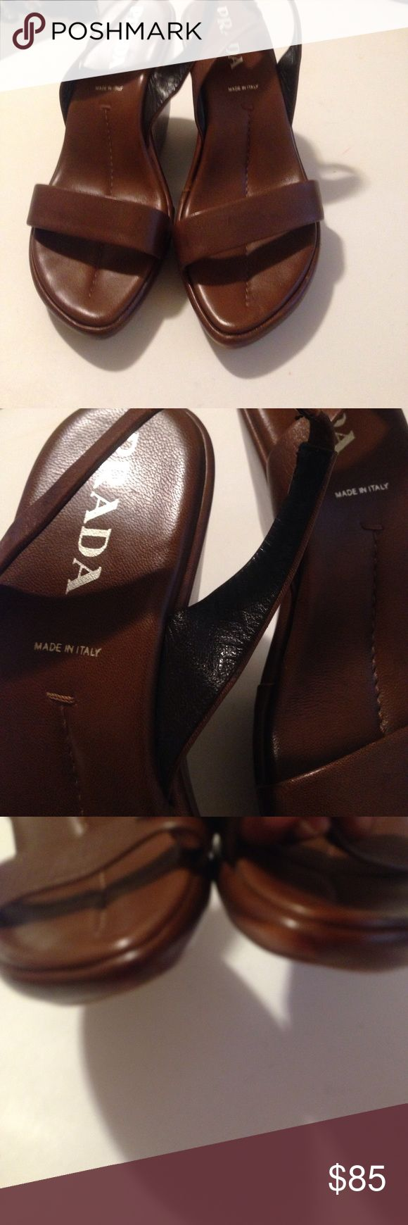 Prada Wedges💥💥sale Leather 5' heels. Toe & ankle straps. Signature soles. Minor water marks on toe straps. Easy fix with saddle soap Good condition cute & comfy Prada Shoes Wedges
