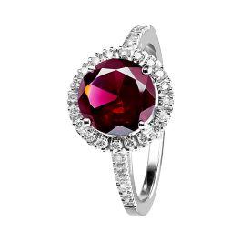 Eleganter Ring Prague Coloured, Granat mit diamantbesetzter Ringschiene und funkelnden Diamanten im Kreis. Prachtvoller Ring mit zentralem roten Granat Edelstein von RenéSim.