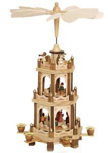 German Wood Christmas Carousel Candles