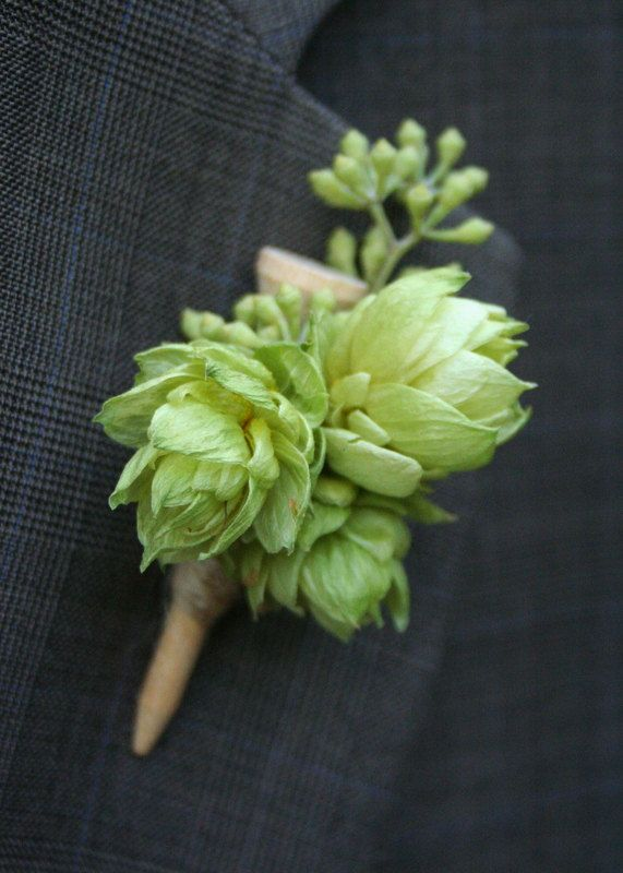 Boutonniere made of golf tee and hops.. $15.00, via Etsy--this is so Alex