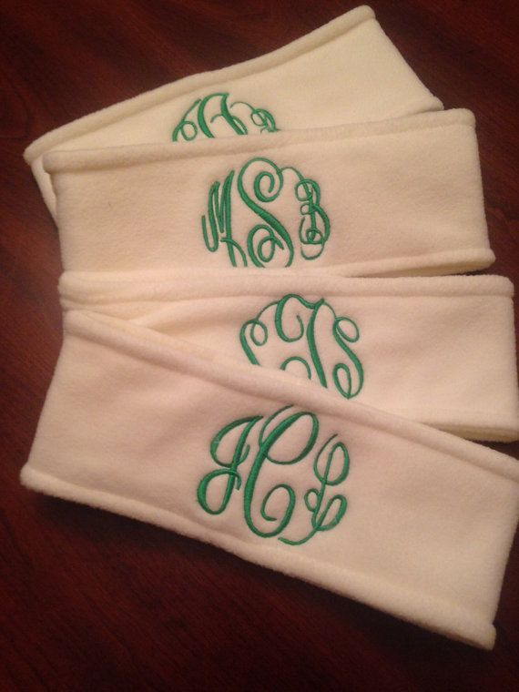 Monogrammed fleece headbands. Available in 12 by dicorembroidery