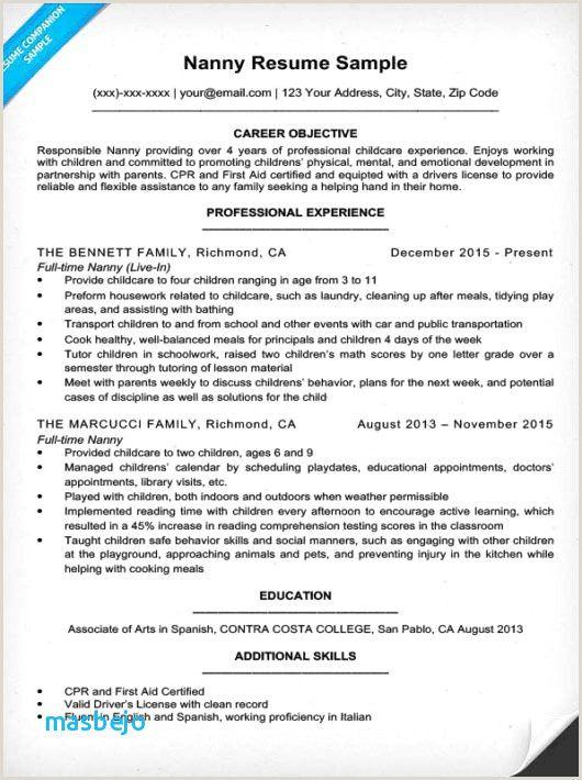 Nanny Cv Sample Resume Examples Sample Resume Resume Skills