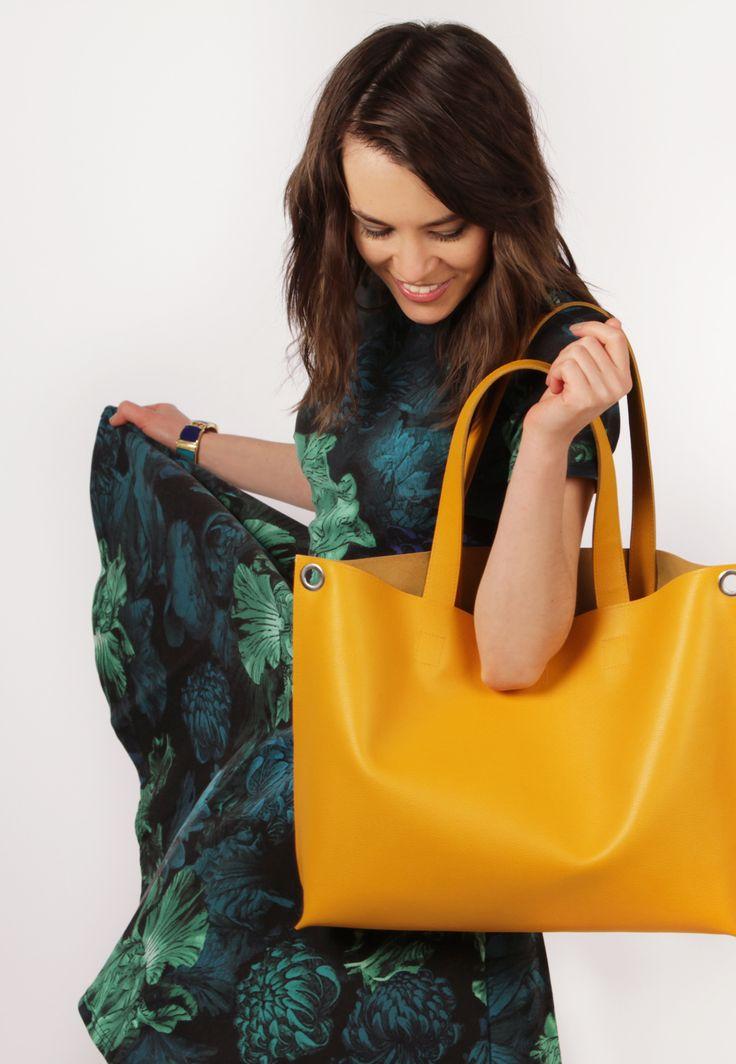 "Yellow Leather Crossbody Tote Bag ""Michelle Honey"", Oversized Shopping Bag, Handmade Tote, Women Laptop Bag"
