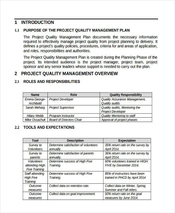 Image Result For Example Of Quality Management Plan How To Plan