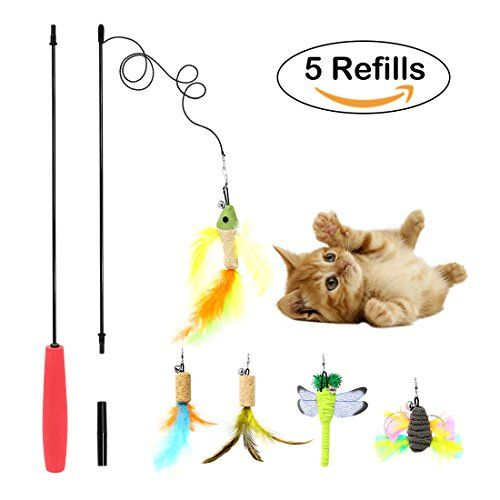 Interactive Cat Toys Bascolor Feather Teaser Wand Toy Set With 5 Refills