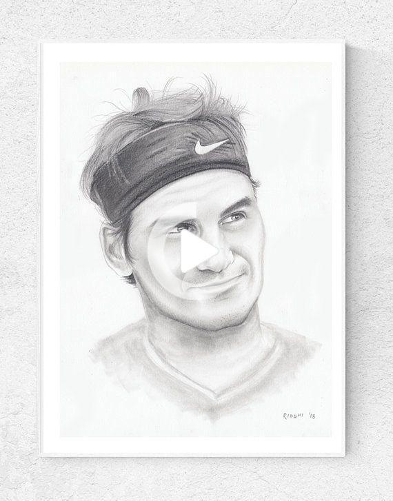 16 X12 Original Drawing Of Roger Federer Tennis Player Portrait In 2020 Original Drawing Celebrity Drawings Roger Federer