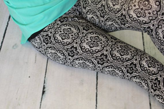 Black and Ivory Faux Lace Leggings in Teen to by Gogreenstyle, $42.00