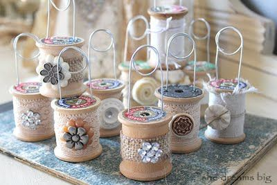 Altered Thread Spools, By She Dreams Big.  Eye candy!  #spool #inspiration #idea