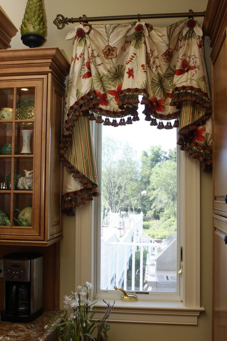 Scalloped valance with bells jabots window treatments for Kitchen window curtains