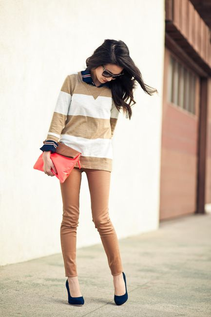 navy and beige: Killers Heels, Sweaters, Color, Outfit, Weekend Stripes, Strips, Blue Shoes, Currently, The Navy