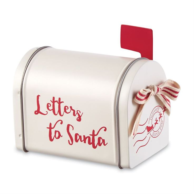 "Miniature metal mailbox features screen printed Letters to Santa message with metal swivel flag and working hinged door with striped canvas bow accent. DETAILS Size: 4"" x 5"""