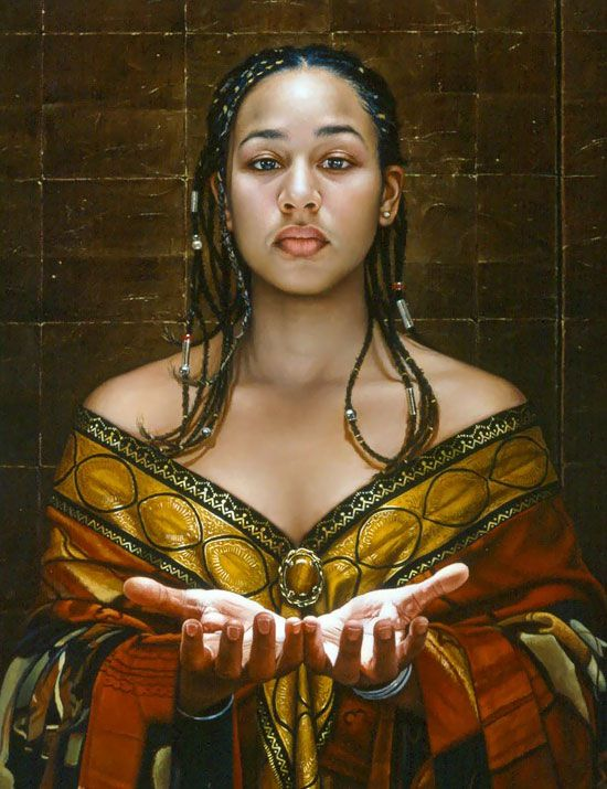 """""""Trust"""" - Duffy Sheridan, oil on canvas {contemporary artist figurative realism female beautiful young female black african-american woman face braids décolletage portrait profile painting detail cropped} <3 Share !!"""