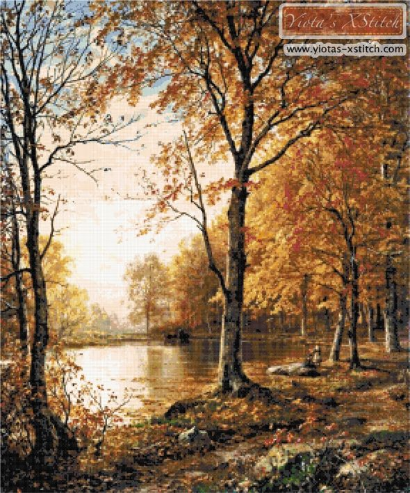 Indian summer landscape cross stitch kit | Yiotas XStitch