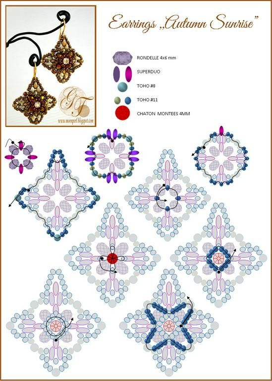 Earrings/Ring AUTUMN SUNRISE - FREE Pattern by MoonPerl. Page 2 of 2