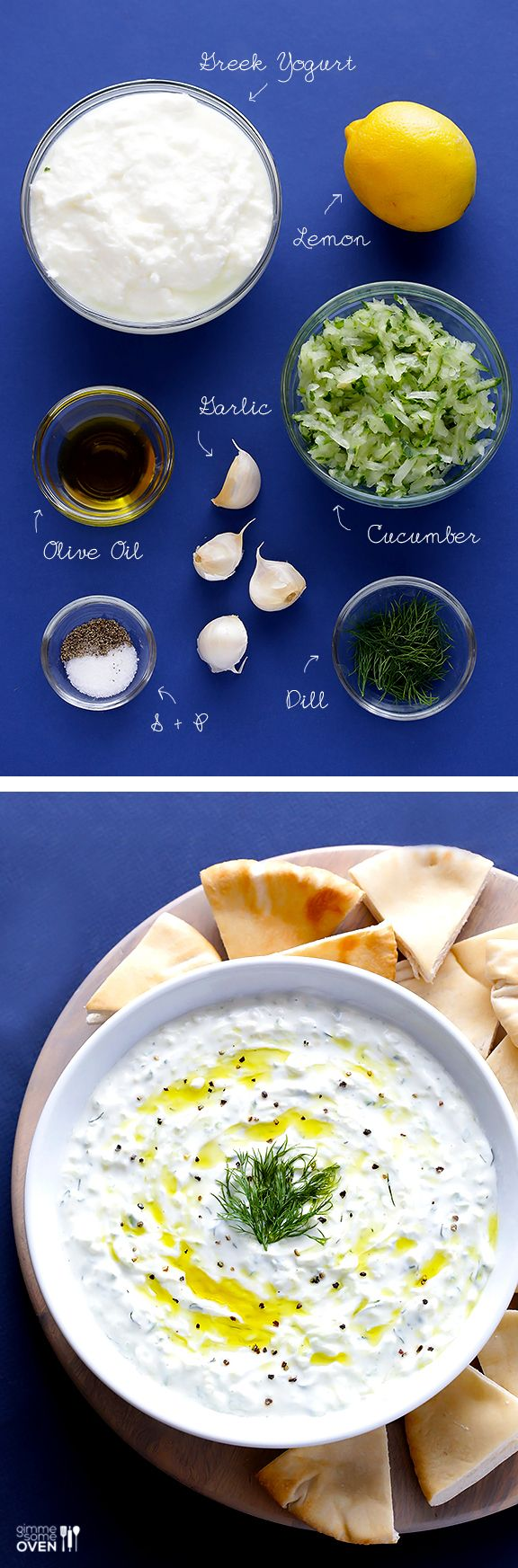 Learn how to make homemade tzatziki with this easy recipe! | gimmesomeoven.com