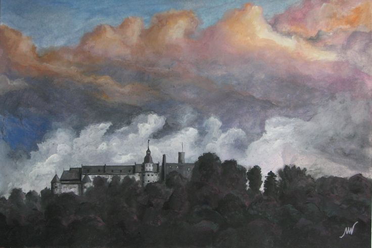 Schloss Hellenstein am Abend mit aufziehendem Gewitter /Hellenstein Castle in the evening during an upcoming thunderstorm, Tempera auf Karton/gouache on cardboard, 35x50 cm, 2014