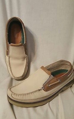 Sperry top-sider mens shoes sz 9.5 M Mako slip on loafer Oyster/Ivory nubuck